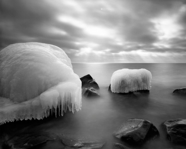 Cascade Ice, Lake Superior - pinhole camera photograph