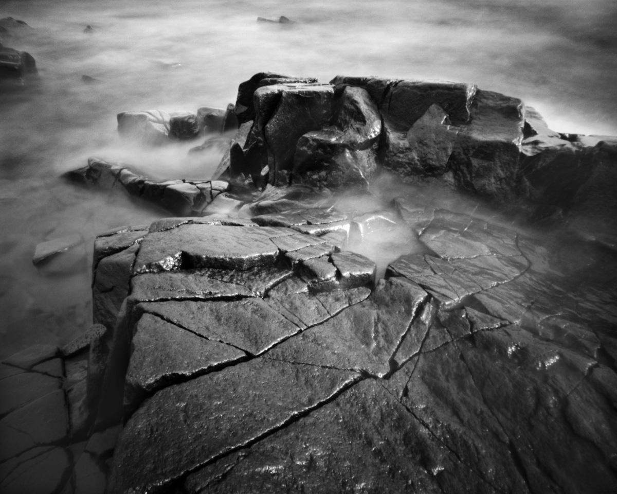 Rock Fracture - pinhole camera photograph, Lake Superior